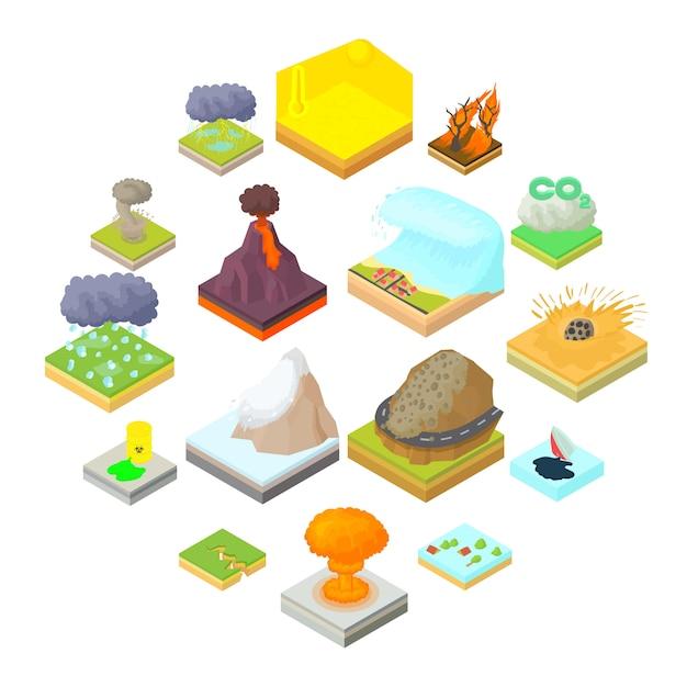 Iconos en estilo de dibujos animados. establecer ilustración de colección Vector Premium