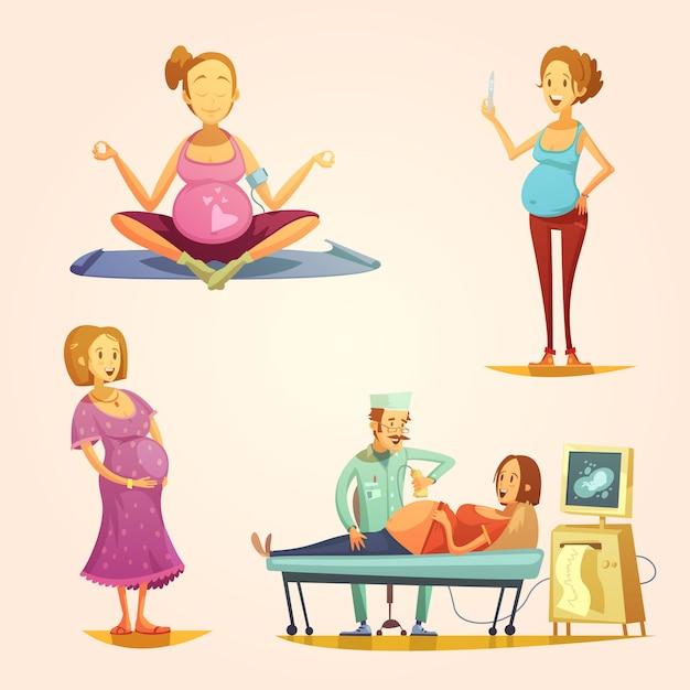 Los iconos de estilo retro del embarazo en forma cuadrada con el examen de ultrasonido y el resultado de la tira reactiva vector gratuito