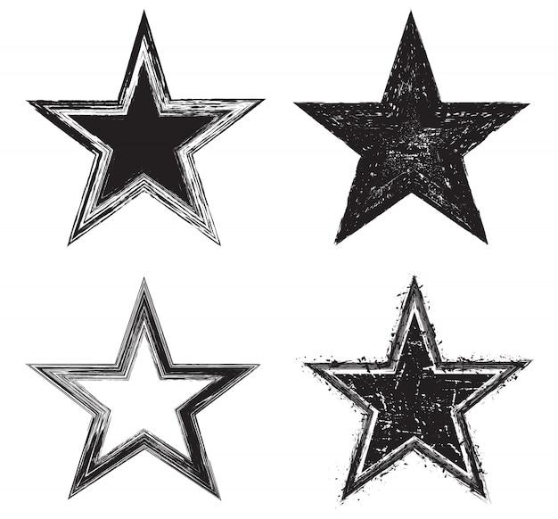 Iconos de estrellas grunge Vector Premium