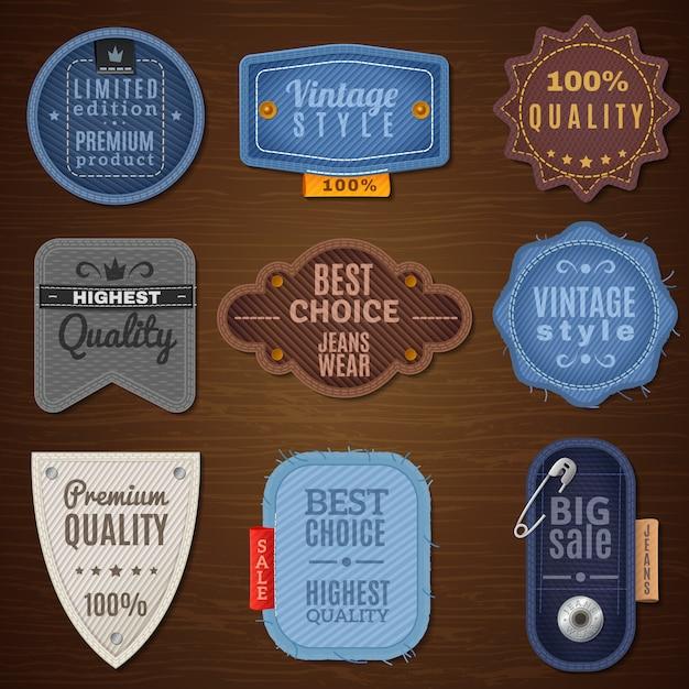 Iconos de etiqueta de jeans vector gratuito