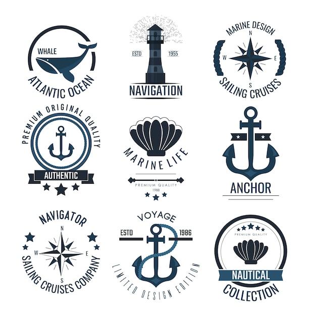 Iconos y etiquetas náuticas vintage. Vector Premium