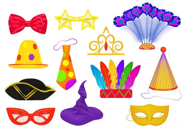 Iconos de la fiesta del carnaval de la mascarada Vector Premium