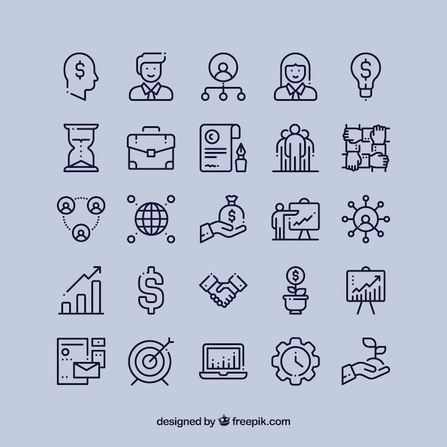 Iconos financieros de negocio conjunto vector gratuito
