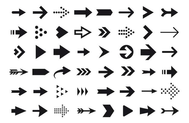 Iconos de flecha, cursor de flecha vector aislado en blanco Vector Premium