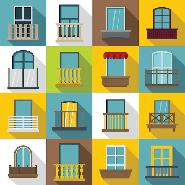 Iconos de formas de ventana set balcón, estilo plano Vector Premium