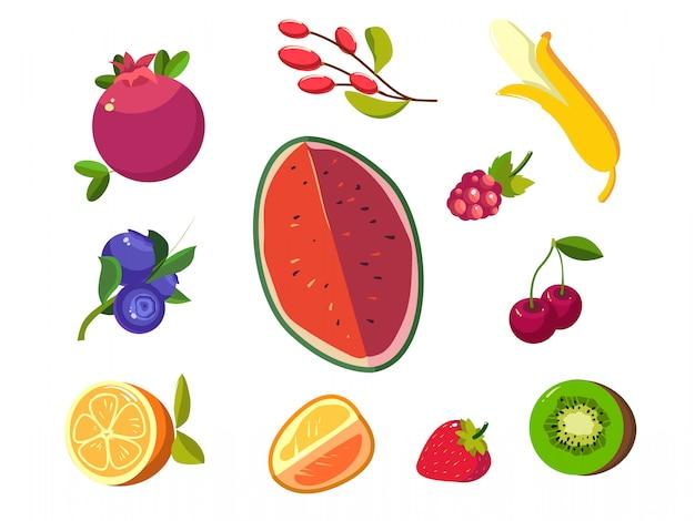 Iconos de frutas y bayas Vector Premium