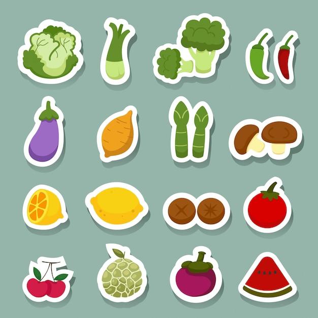 Iconos de frutas y verduras Vector Premium