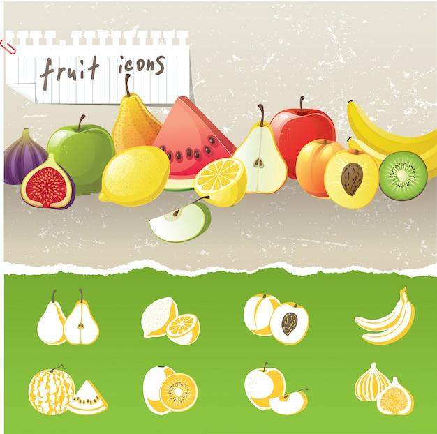 Iconos de frutas Vector Premium