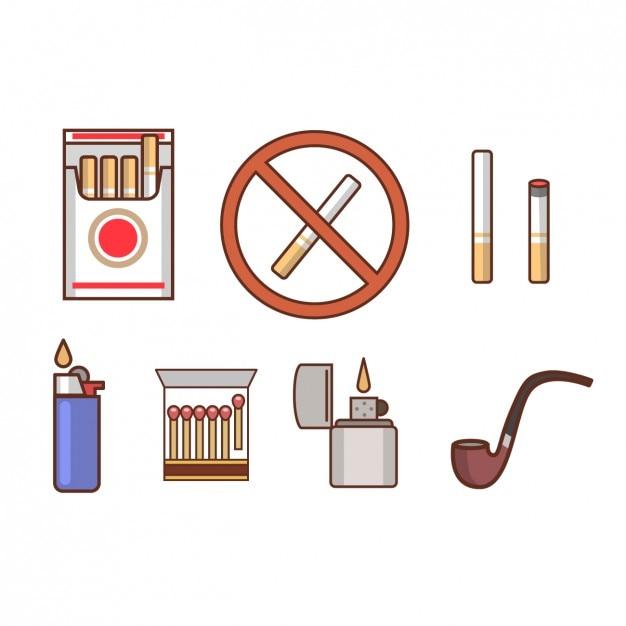 Iconos de fumar vector gratuito