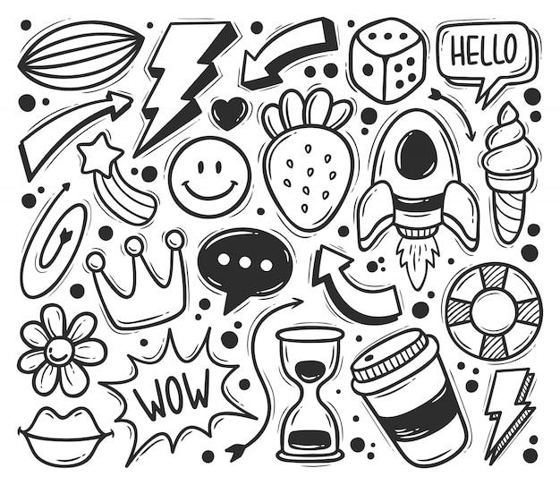 Iconos garabato abstracto dibujado mano doodle para colorear vector gratuito