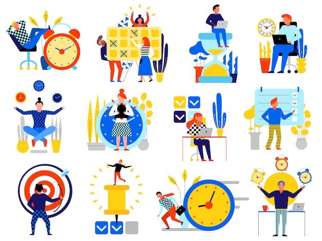 Iconos de gestión del tiempo con símbolos de planificación planas aislado plano vector gratuito