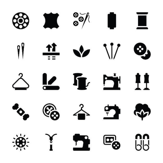 Iconos de glifo de costura Vector Premium