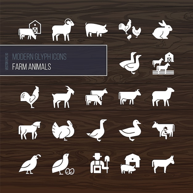 Iconos de glifos modernos de animales de granja Vector Premium