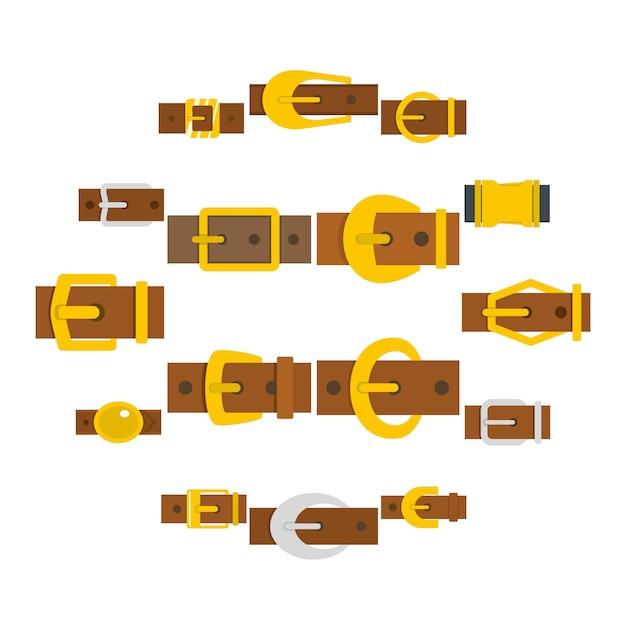 Iconos de hebillas de cinturón en estilo plano Vector Premium