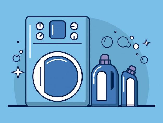 Iconos de herramientas y productos de limpieza Vector Premium