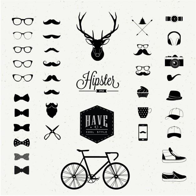 Iconos hipster Vector Gratis