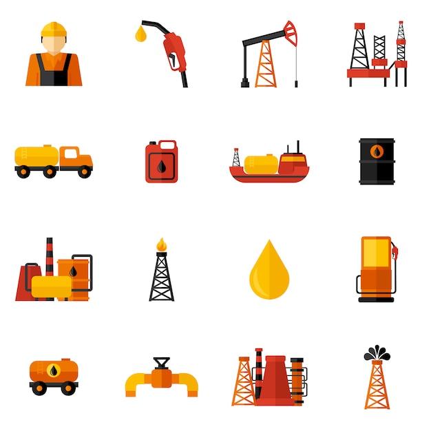 Iconos de la industria del petróleo plana vector gratuito