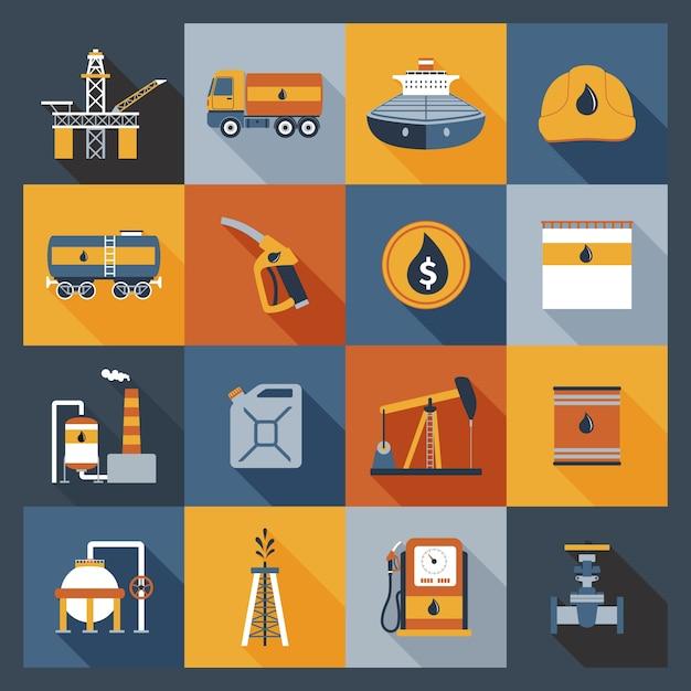 Iconos de la industria petrolera planos vector gratuito