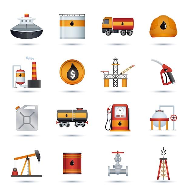 Iconos de la industria petrolera vector gratuito