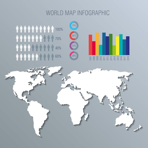 Iconos de infografía planeta mundial Vector Premium