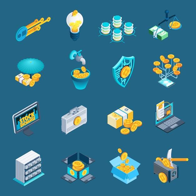 Iconos isométricos de blockchain de criptomonedas vector gratuito
