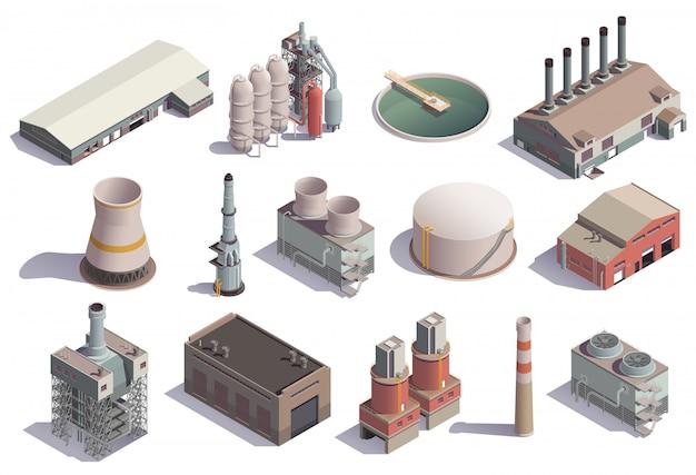Iconos isométricos de edificios industriales con imágenes aisladas de las instalaciones de la fábrica para diferentes propósitos con sombras vector gratuito