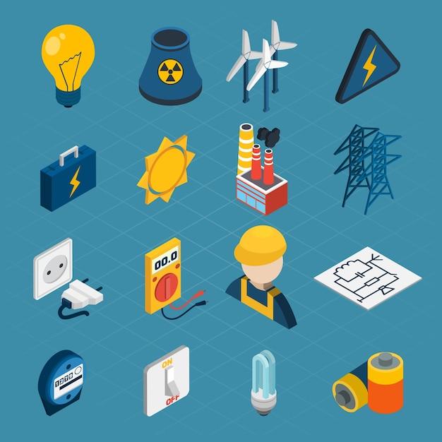 Iconos isométricos de electricidad vector gratuito