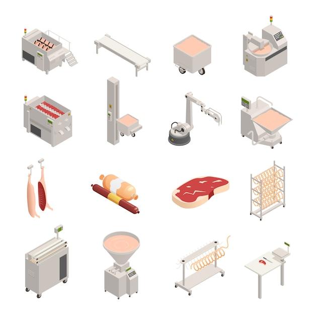 Iconos isométricos de fábrica de salchichas vector gratuito