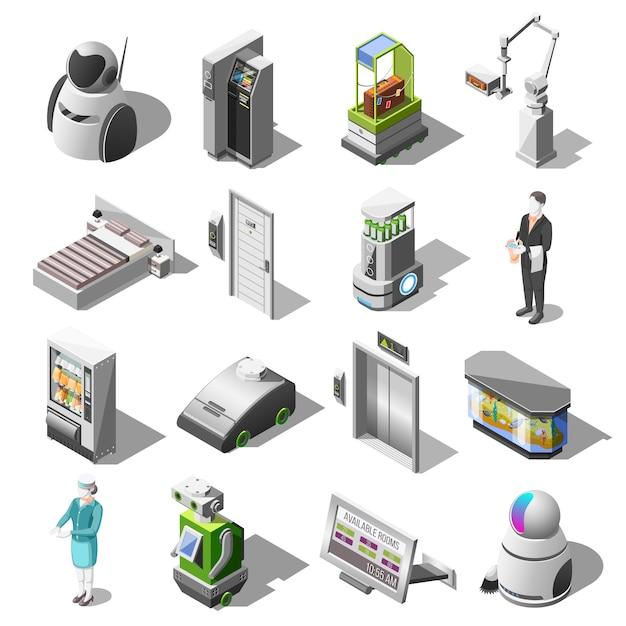 Iconos isométricos de hoteles robotizados vector gratuito