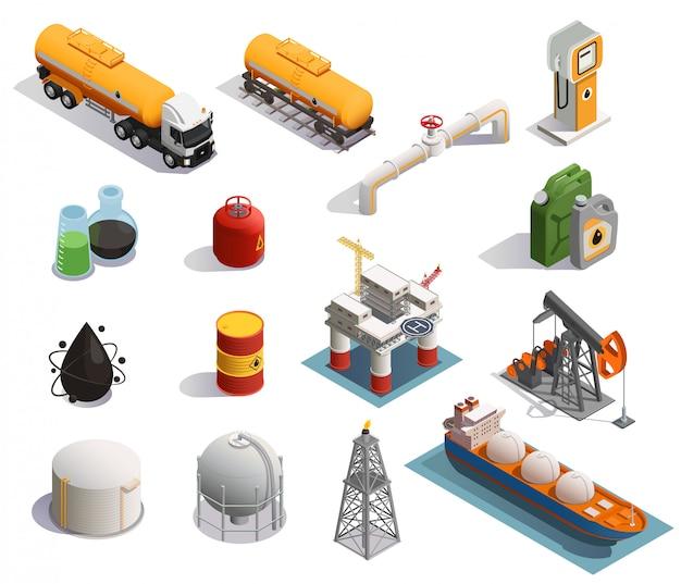 Iconos isométricos de la industria petrolera petrolera con tubería de transporte de productos de plantas de refinería de extracción vector gratuito