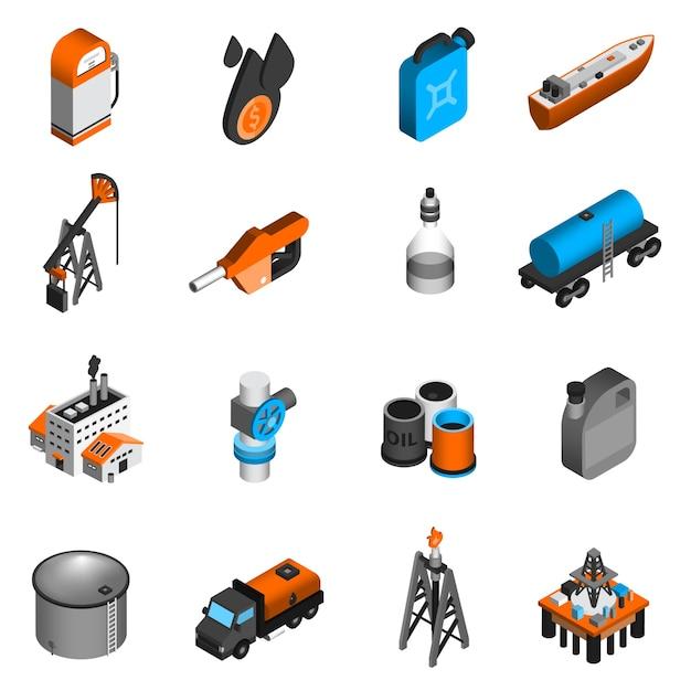 Iconos isométricos de la industria petrolera vector gratuito