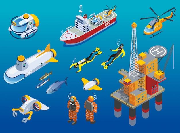 Iconos isométricos de investigación de profundidades submarinas vector gratuito