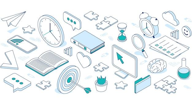 Iconos isométricos de negocios con nube, computadora, teléfono y reloj. vector gratuito
