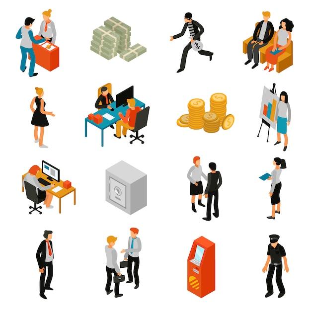 Iconos isométricos de personas de banco vector gratuito