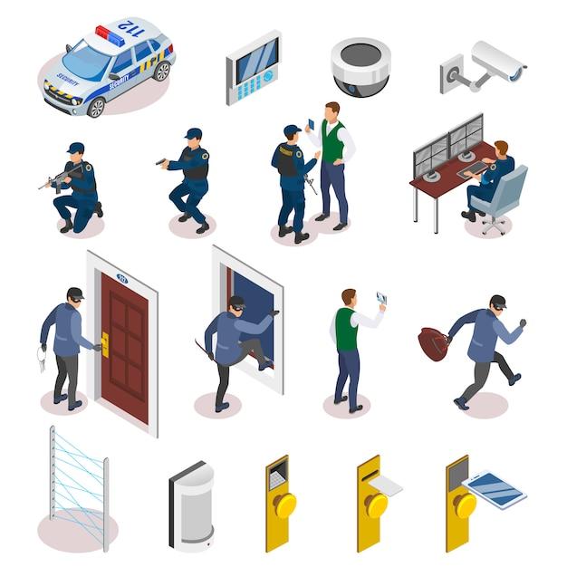 Iconos isométricos de sistemas de seguridad con sensores de movimiento láser, operadores de cámaras de vigilancia, oficiales en acción vector gratuito