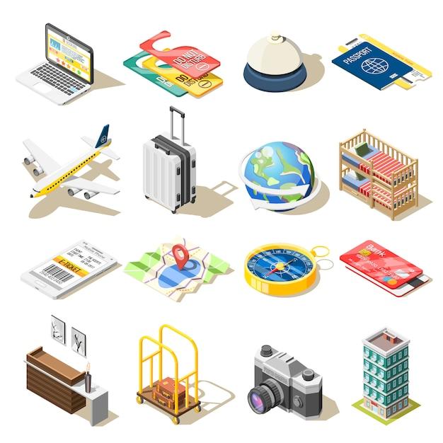 Iconos isométricos de viaje vector gratuito