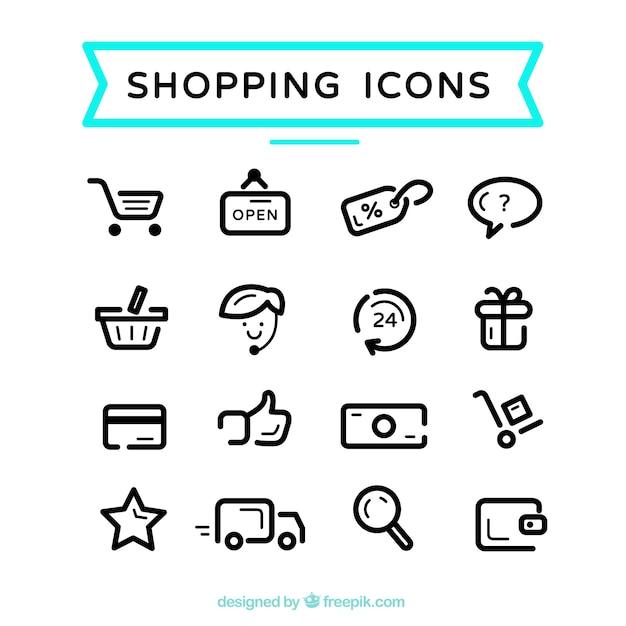 Iconos lindos de compras Vector Premium