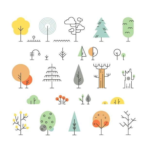 Iconos de línea de árboles forestales con formas geométricas simples Vector Premium