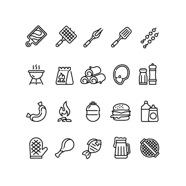 Iconos de línea de barbacoa y parrilla caliente Vector Premium