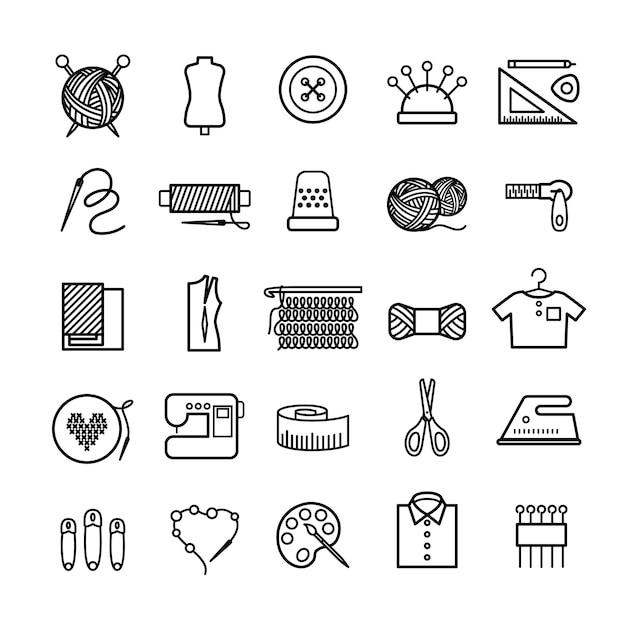 Iconos de línea de costura y costura de punto Vector Premium