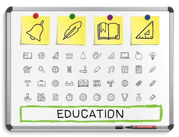 Iconos de línea de dibujo a mano educación. doodle conjunto de pictogramas. ilustración de signo de boceto en pizarra blanca con pegatinas de papel. hospital, emergencia, doctor, enfermera, farmacia, medicina, cuidado de la salud. Vector Premium