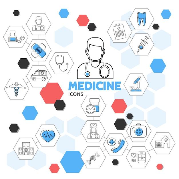 Iconos de línea de medicina en la colección de hexágonos con médico enfermera píldoras ambulancia coche diente equipo médico vector gratuito
