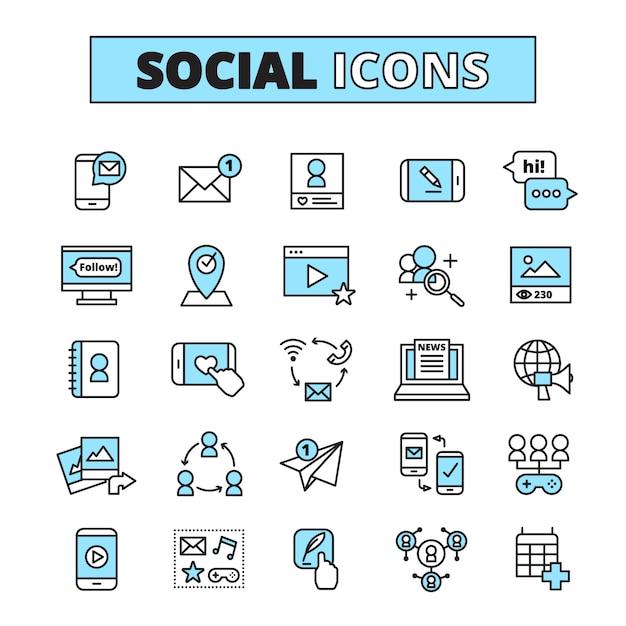 Los iconos de la línea de medios sociales establecidos para la comunicación por correo electrónico de la comunidad de internet y la red del grupo comparten aislados vector gratuito