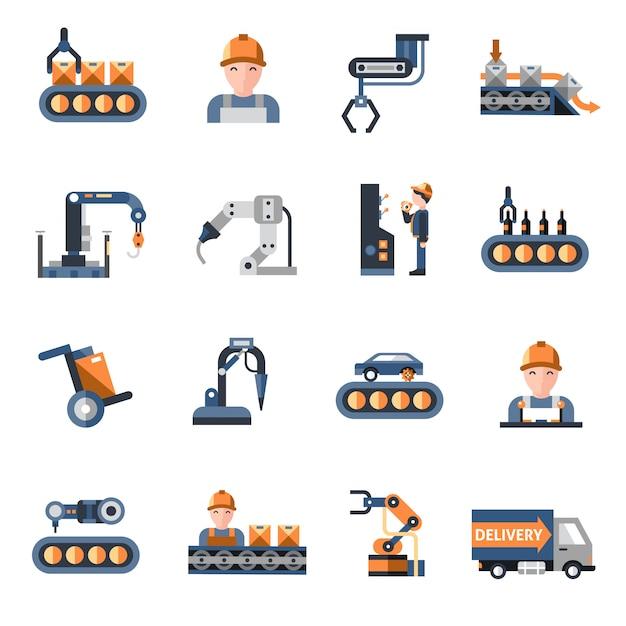 Iconos de la línea de producción vector gratuito