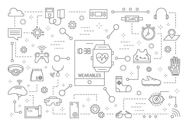 Iconos de la línea de wearables en fondo blanco. Vector Premium