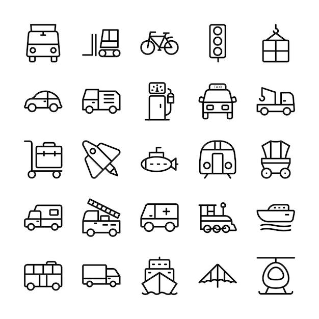 Iconos de líneas de automóviles Vector Premium