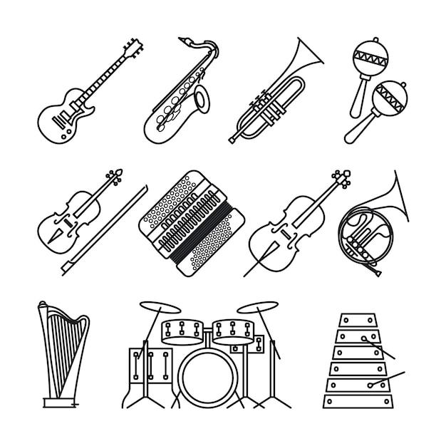 Iconos de líneas finas de instrumentos musicales Vector Premium