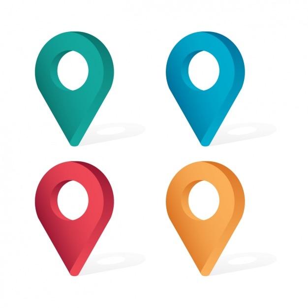 Iconos de localización vector gratuito