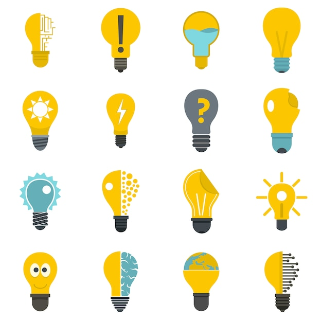 Iconos de logotipo de lámpara establecidos en estilo plano Vector Premium