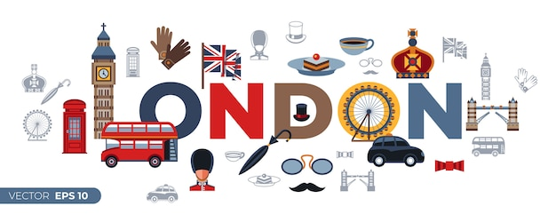 Iconos de londres Vector Premium